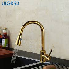 luxury kitchen faucets ulgksd luxury kitchen faucet pull out sprayer deck mount gold
