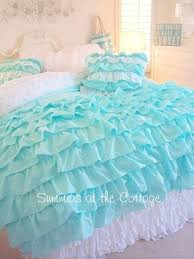 aqua ruffle comforter king shabby cottage chic layers of dreamy aqua petticoat ruffles