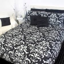 Damask Duvet Cover King Black And White Damask Bedding White With Black Damask Flocking
