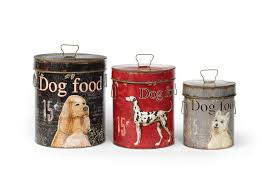 rustic tin dog canister set the new rustic