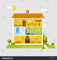 House Flat Design by Flat Design House Interior Stock Vector 589466795 Shutterstock
