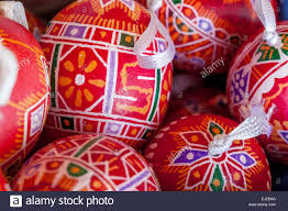 traditional easter eggs prague czech republic europe stock photo