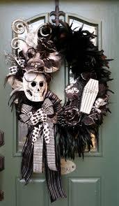 halloween wreath feather wreath skull wreath spooky wreath