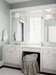Modern White Bathroom Vanity by Bathroom Vanity Lights Mounted On Trimmed Out Plate Mirror