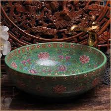 Ceramic Bathroom Vanity by Europe Vintage Style Hand Painting Art Porcelain Green Countertop