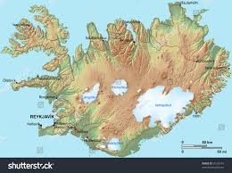 Iceland World Map Topographic Map Iceland Shaded Relief Hypsometric Stock