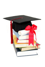 graduation cap and diploma on stack of books stock image image