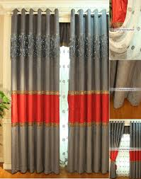 Grey Red Curtains Adorable Red And Gray Curtains And Grey And Red Shower Curtain M