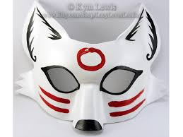 Light Trickster Fox White Sumi E Mask Kitsune Spirit Fox
