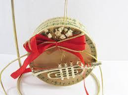 enesco trumpet music christmas ornament trinket box