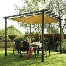 backyard patio covers with dining table and flowers and grass