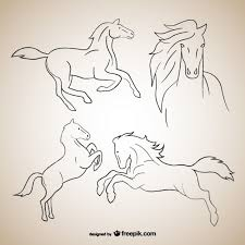 horse outline drawings vector free download