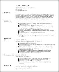 Entry Level Resume Builder Free Entry Level Chemist Resume Template Resumenow