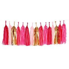 pink garland pink gold tassel garland pipii