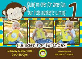 Birthday Invitation Card For Baby Boy First Birthday Monkey Invitations Iidaemilia Com