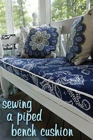 Pillow Top Bench Great Tutorial For Bench Cushion And She Uses Shower Curtains For
