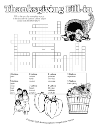 thanksgiving printables and activities thanksgiving fill in puzzle