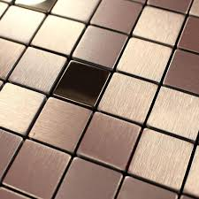 brushed metallic mosaic tiles stainless steel kitchen backsplash 9103