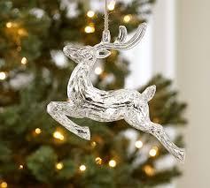 reindeer ornaments acrylic mirrored reindeer ornament pottery barn
