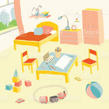 Bedroom Cartoon Childrens Bedroom Interior With Furniture And Toys Kids Playroom