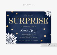 gold surprise party invitation printed navy white blue