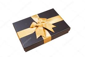 black and gold ribbon black gift box with gold ribbon and a bow on white background