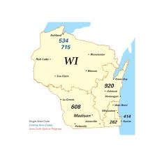map of area codes wisconsin telephone area codes map