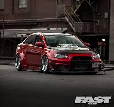 stanced mitsubishi lancer tuned mitsubishi evo x fast car