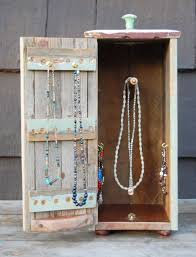 jewelry necklace case images Rustic wood jewelry box for hanging necklaces and bracelets looks jpg