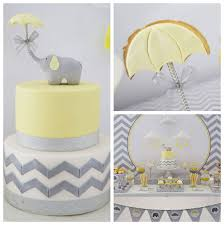 yellow and grey elephant themed baby shower via kara u0027s party ideas
