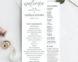 simple wedding ceremony program wedding programs template printable wedding program calligraphy