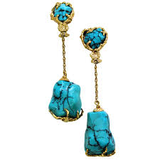 turquoise drop earrings gold and turquoise drop earrings circa 1960 signed