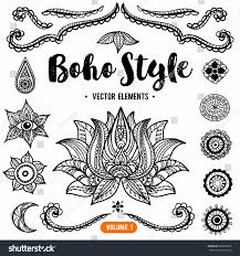 set ornamental boho style elements vector stock vector 285870206