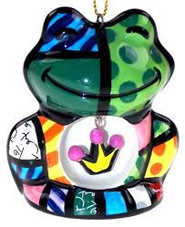 romero britto ornaments set 5 frog house cat
