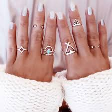 buy metal rings images Shellhard 6pcs set knuckle ring silver opened cuff finger rings jpg