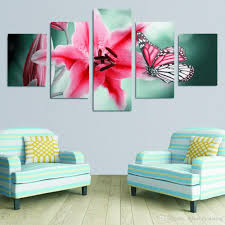 2017 5 panels of beautiful big flower with butterfly painting