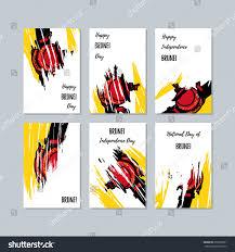 Uganda Flag Colours Brunei Patriotic Cards National Day Expressive Stock Vector