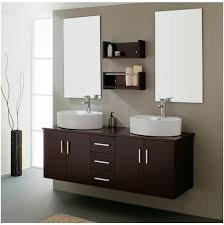 Bathroom Cabinet Design Remarkable Twim Mirror On Simple Wall Near Two Washbasin On Wooden