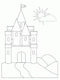 Vector Of A Cartoon Beach Bum Man Tanning By Sand Castle Coloring Sandcastle Coloring Page