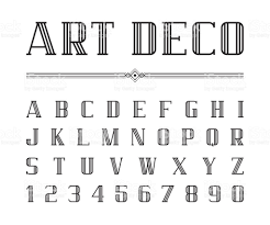 vector of art deco font and alphabet condensed letters set the