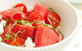 watermelon salad with tomatoes goat cheese and basil whole