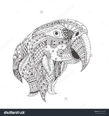 hand drawn parrot with ethnic floral pattern coloring page