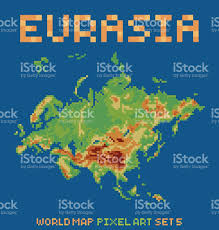 Eurasia Map Pixel Art Style Illustration Of Eurasia Physical World Map Stock