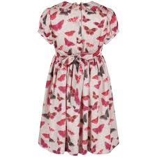 rachel riley girls pink dress with butterfly print and peter pan