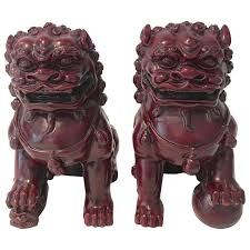 foo lions for sale antique carved wood foo dog pair for sale at 1stdibs