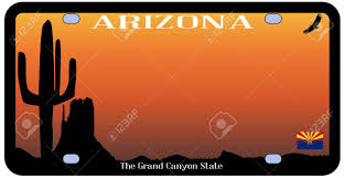 Az State Flag Arizona State License Plate With Flag And Desert Icons Over A