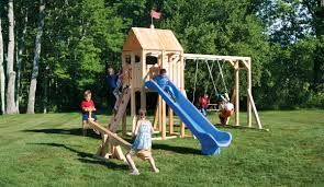 Playsets Outdoor Frolic 166 Wooden Swing Set And Outdoor Playset Cedarworks Playsets