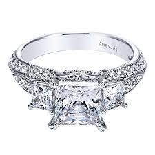 engagement rings cut images Malva 18k white gold princess cut 3 stones engagement ring jpg