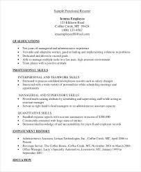 Sample Template For Resume Functional Resume 8 Free Sample Example Format Free