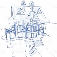 Home Blue Print by House Blueprint 3d Technical Concept Draw Stock Photo 91171961